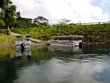 Boats ready to cross Lake Arenal