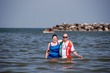 Kathy and Ben in the Adriatic at Lido delle Nazione